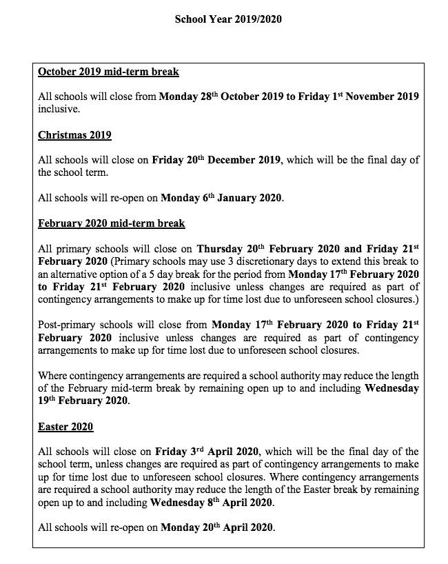 Calendario Escolar 2020 Colombia.Calendario Del Curso Escolar En Irlanda Actualizado Gmr