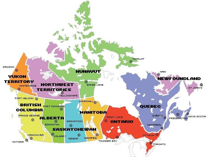 Mapas De Ciudades Y Provincias De Canada Gmr Idiomas